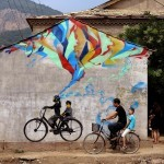 Stinkfish creates a new piece on the streets of Xucun in China