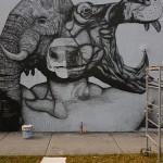 La Pandilla New Mural In Progress, Miami