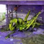 "Bordalo II ""Space Grasshopper"" New Installation – Lisbon, Portugal"
