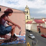 "Fintan Magee paints ""The Messenger"" for Most Festival in Moscow, Russia"