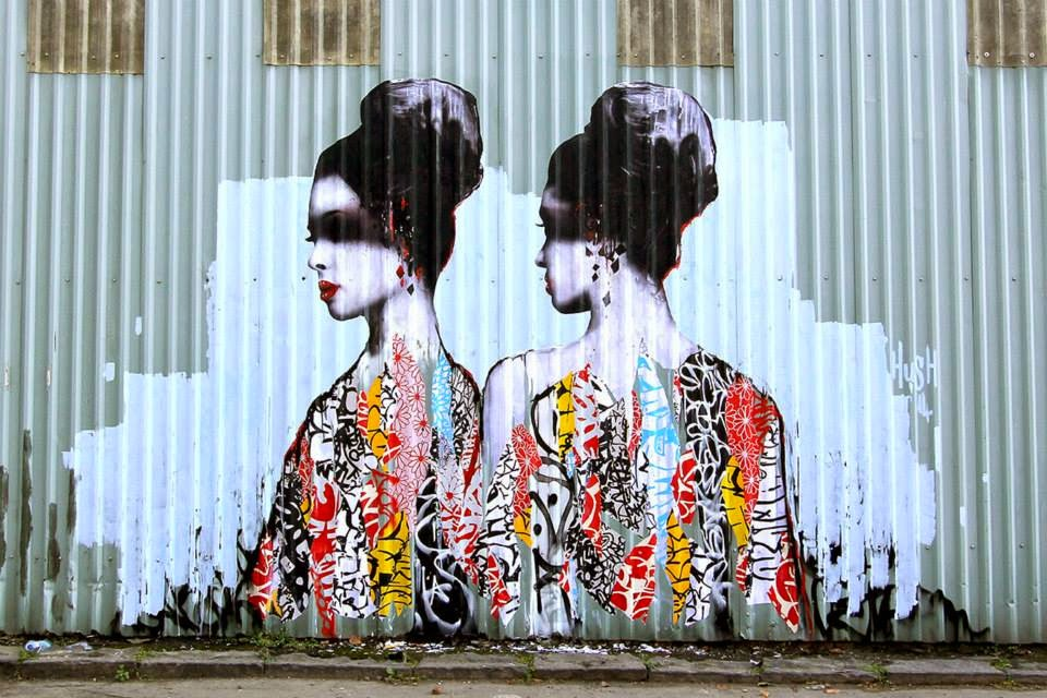 Hush paints a new street piece in Newcastle, UK