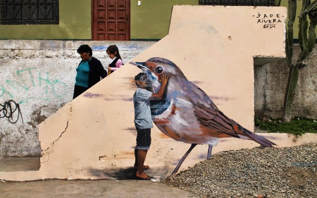 "JADE paints ""Dreamcatcher"", a new street piece in Lima, Peru"
