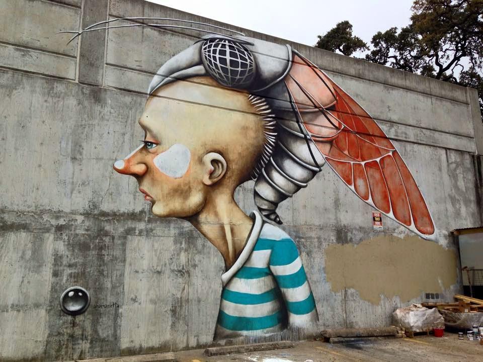 Ana Maria creates a new mural in Austin, Texas for Pow! Wow! SXSW