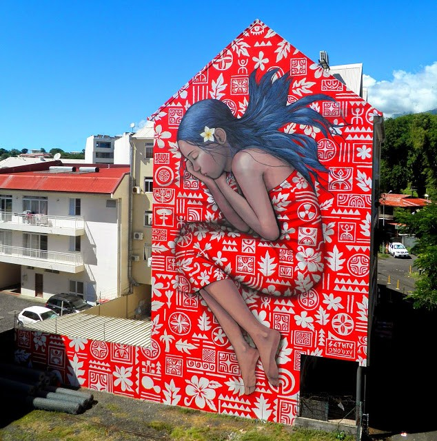 Seth Globepainter and HTJ collaborate on a new mural in Papeete, Tahiti