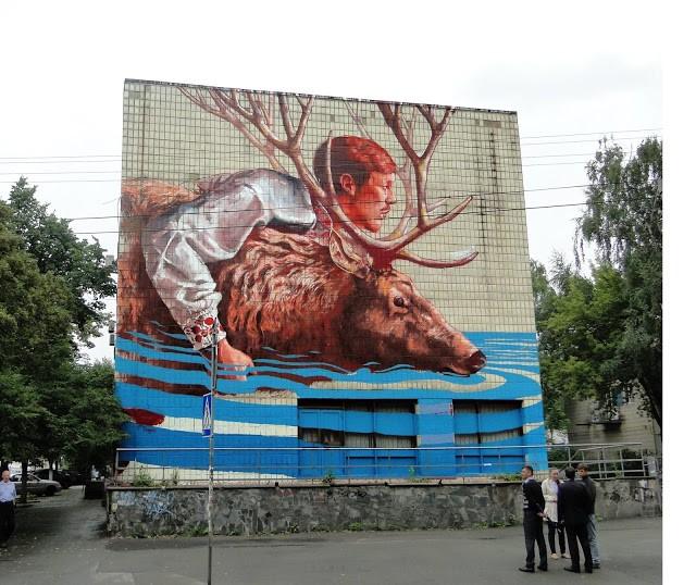 "Fintan Magee ""The River Crossing"", a new mural in Kiev, Ukraine"