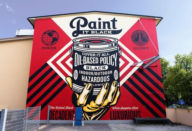 """Paint It Black"" a new mural by Shepard Fairey in Munich, Germany"