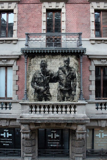 Borondo creates a new street installation in Milan, Italy