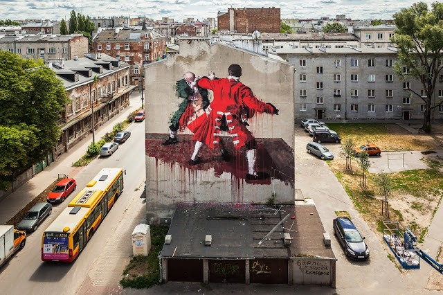 Conor Harrington creates a new mural in Warsaw, Poland for Street Art Doping