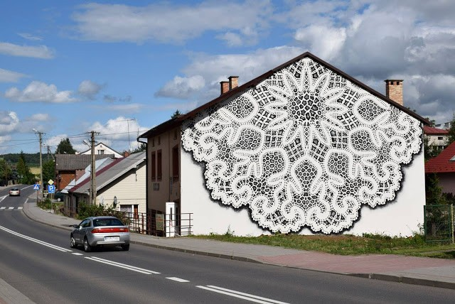 NeSpoon unveils a new mural in Bobowa, Poland