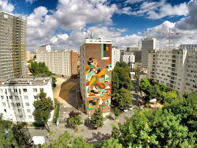 REKA creates his largest mural to date in Paris, France