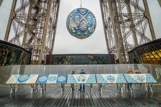 """Earth Crisis"", a new installation by Shepard Fairey @ the Eiffel Tower, Paris"