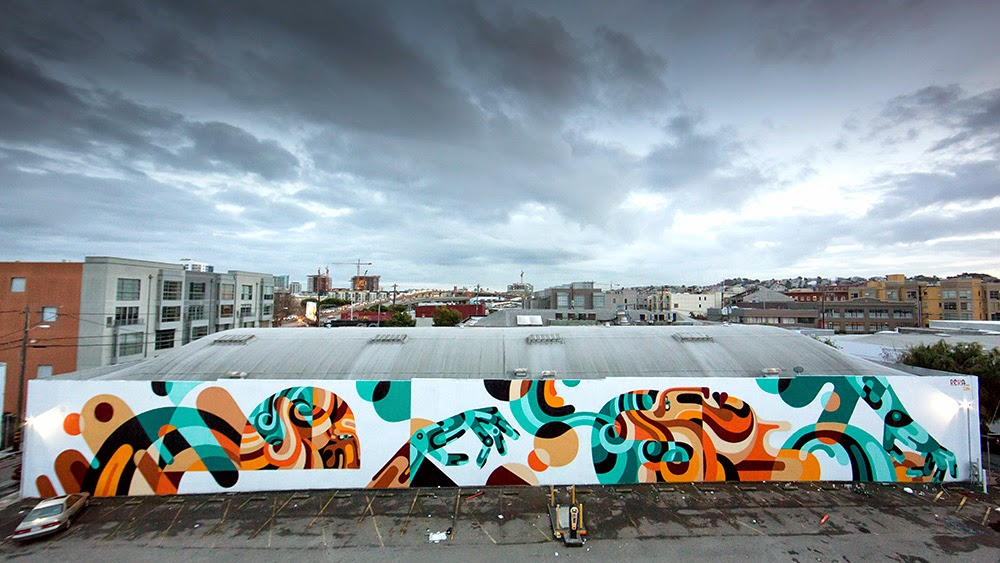 Reka paints a large new mural in San Francisco, USA