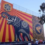 """Shepard Fairey """"Peace Elephant"""" New Mural In Los Angeles At The West Hollywood Library"""