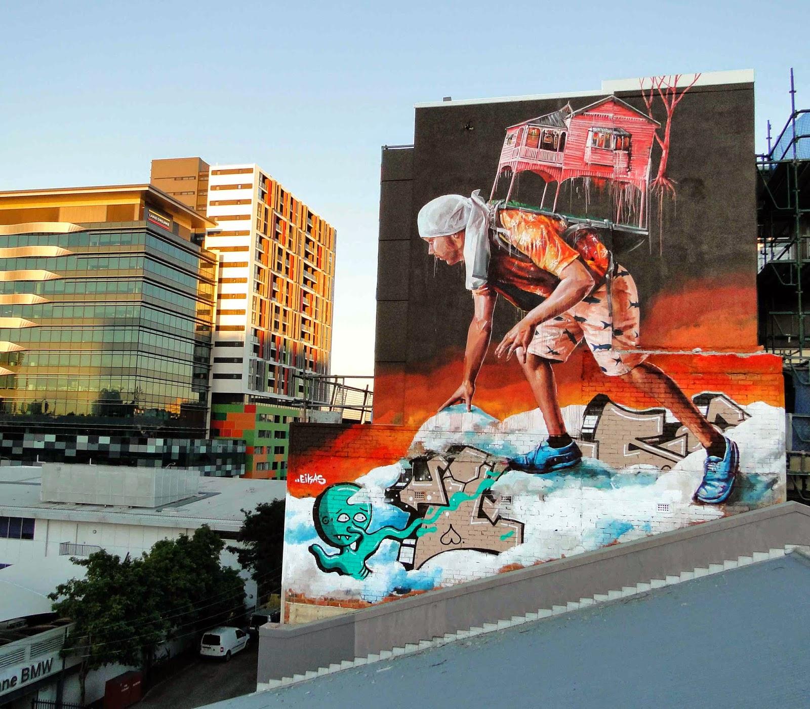 Streetartnews fintan magee new mural brisbane australia for Australian mural