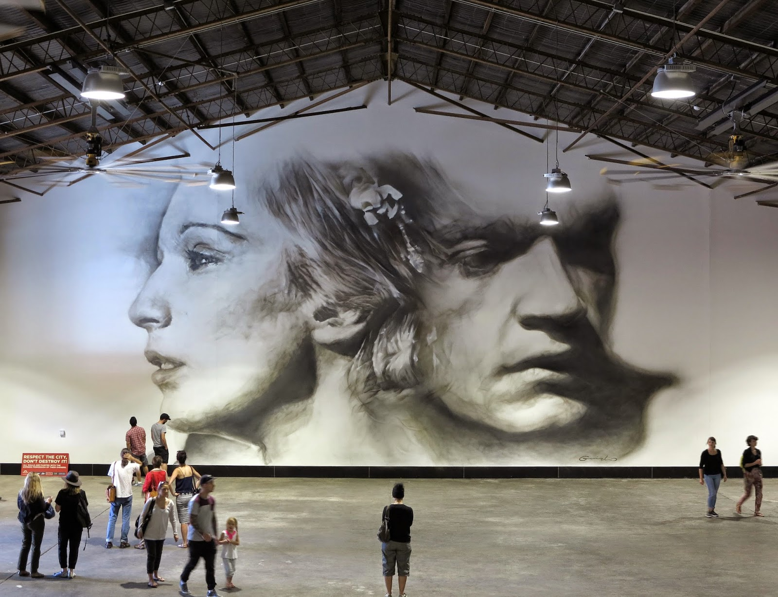Guido Van Helten creates a new indoor piece in Port Adelaide, Australia