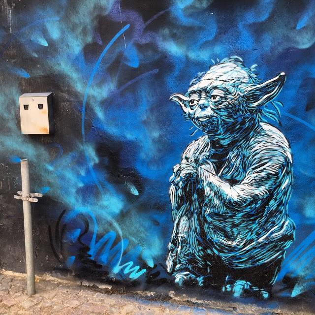 A series of stencils by C215 in Horsen, Denmark