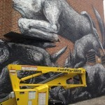 ROA New Mural In Progress, London, UK