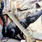 ROA paints a series of animals in Queretaro, Mexico