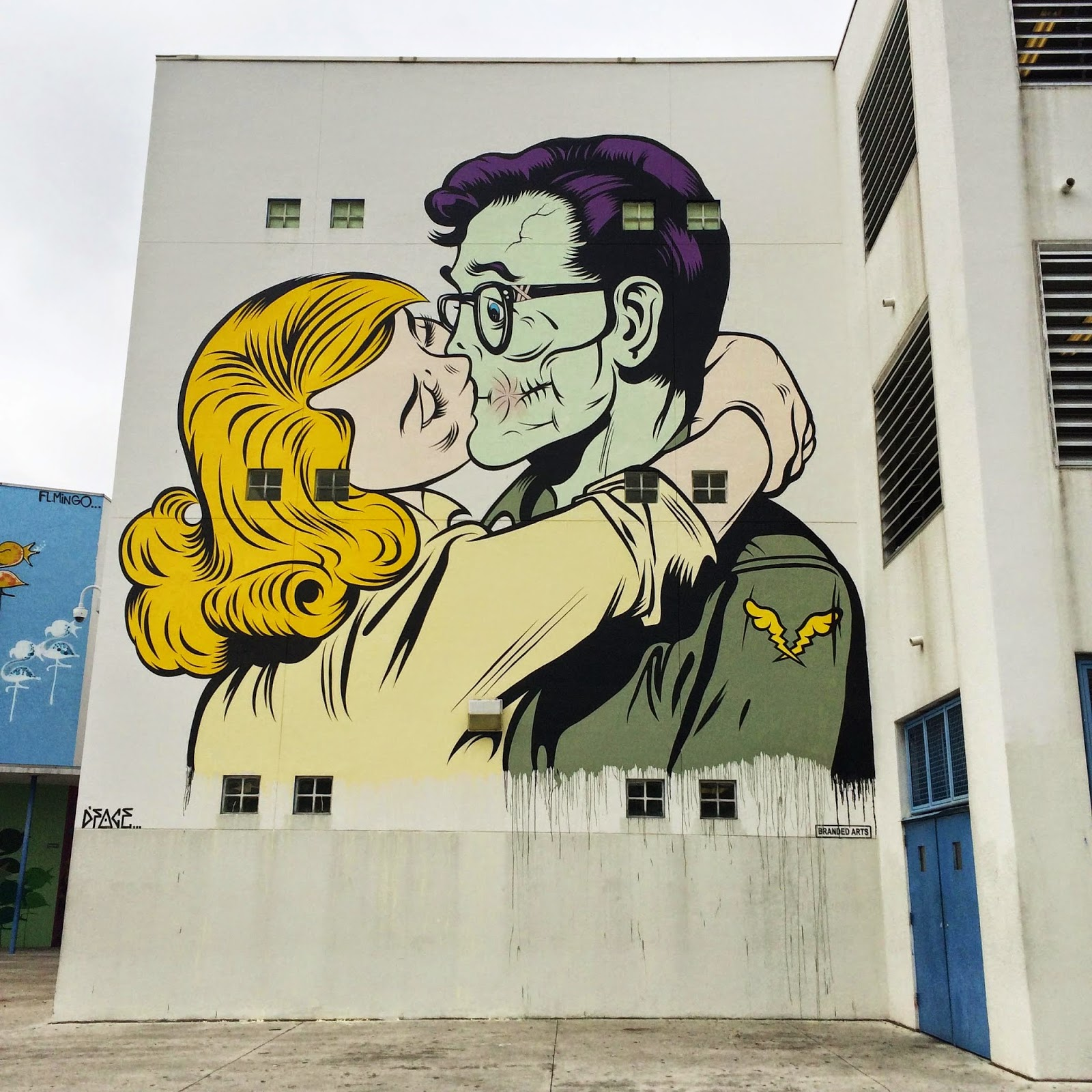 "Art Basel '14: DFace paints ""Suck Face"", a new mural for the Raw Project in Miami"