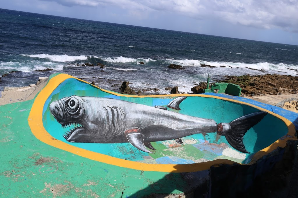 ROA paints a large shark in La Perla, Puerto Rico