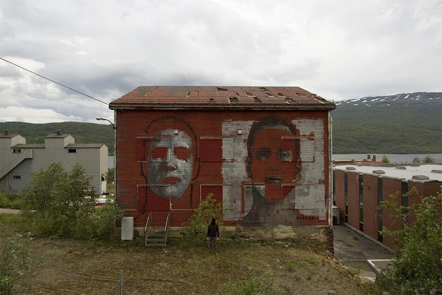Borondo paints two giant portraits in Sulitjelma, Norway