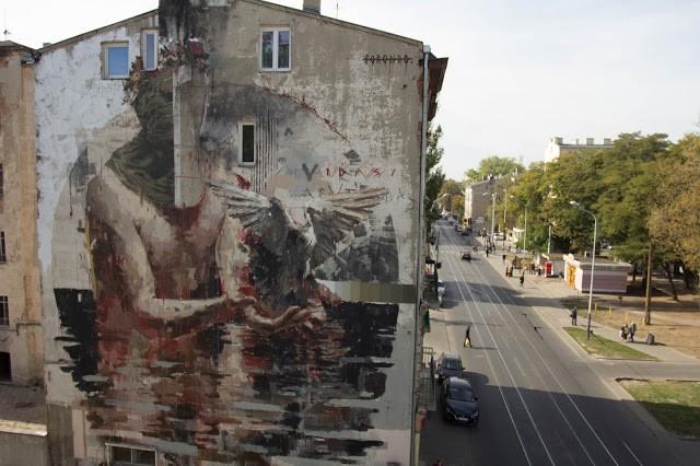 Borondo unveils a new mural in Lodz, Poland