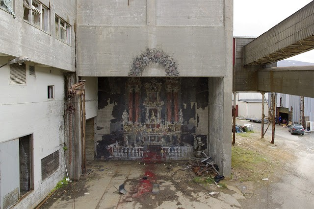 """The Altar"", a new mural by Borondo in Sulitjelma, Norway"