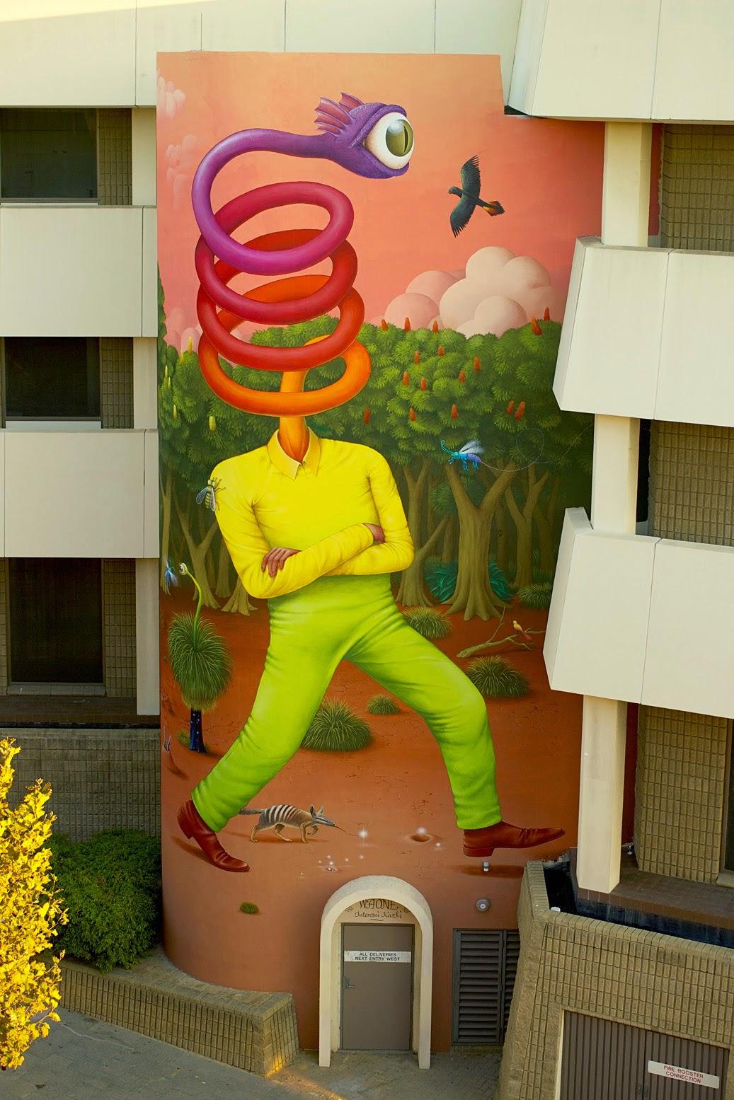 """Rainbow Serpent"", a new mural by WAONE Interesni Kazki in Perth, Australia"