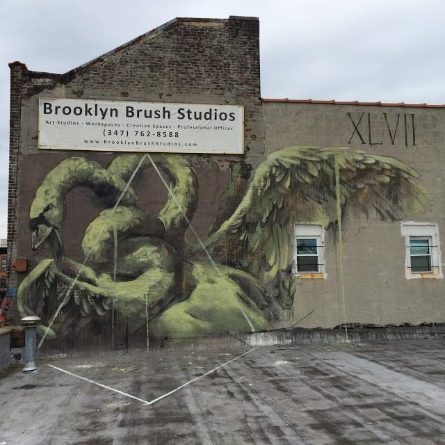 Faith47 creates a new mural in Brooklyn, New York City