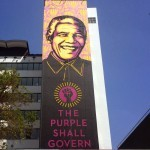 "Shepard Fairey creates a giant portrait of ""Nelson Mandela"" in Johannesburg, South Africa"