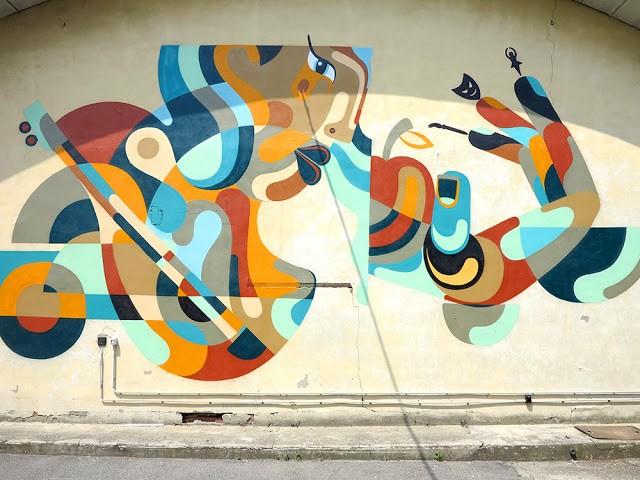 Reka creates a beautiful mural in Milan, Italy