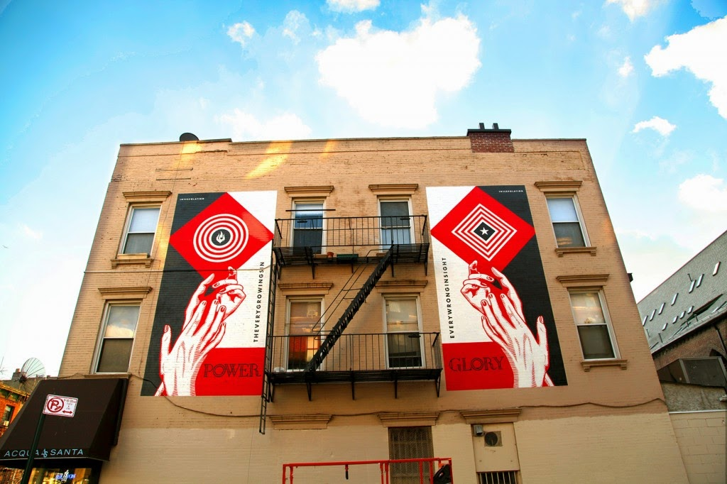 Shepard Fairey creates a new piece in Brooklyn to support the new Interpol album