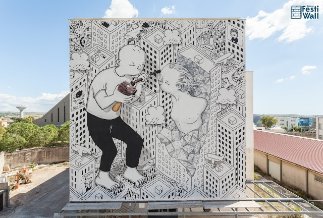 Millo creates a new mural in Ragusa, Italy