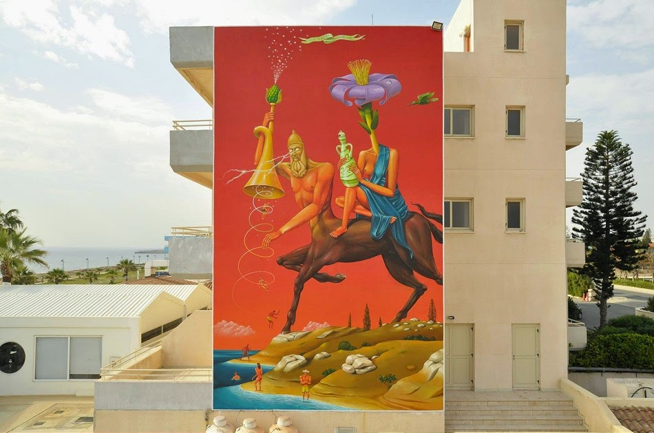 AEC from Interesni Kazki paints a large mural in Ayia Napa, Cyprus