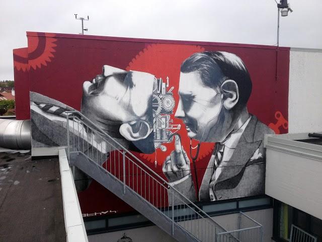 Claudio Ethos creates a large mural in Byrne, Norway (Part II)