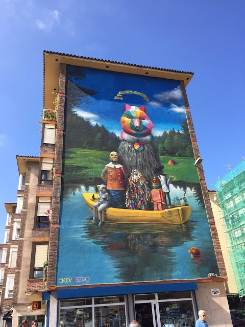 Okuda & Serzo collaborate on a large mural in Santander, Spain