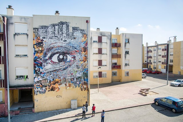 Vhils unveils a new piece in Loures, Portugal