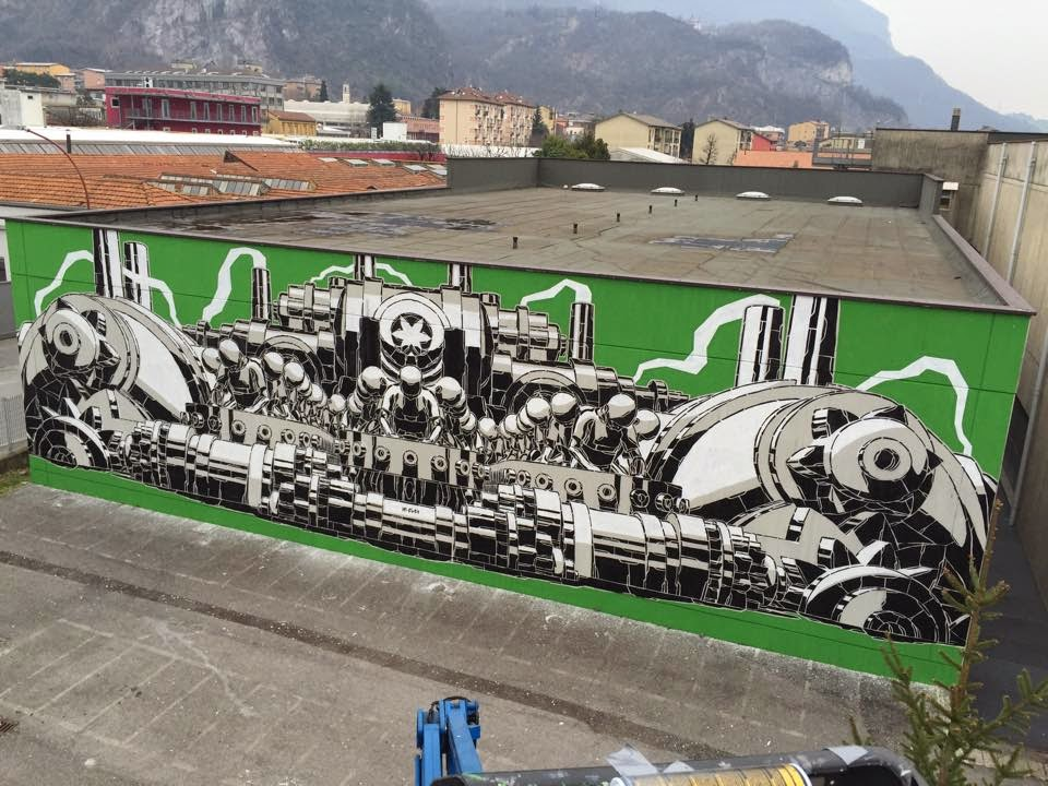 M-City paints a new mural in Lecco, Italy