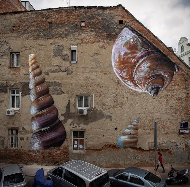"Lonac paints ""Xenophora"" a new photo realistic mural in Zagreb, Croatia"
