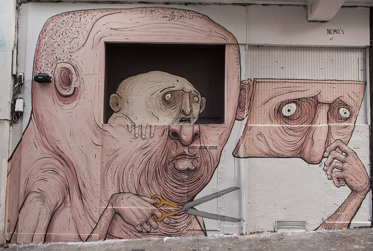 "Nemo paints ""Who Is Inside Nemo's"" a new mural in Madrid, Spain"