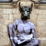 "Levalet creates ""Minotaur"", a new piece on the streets of Paris, France"