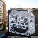 Phlegm creates a new mural in East London, UK