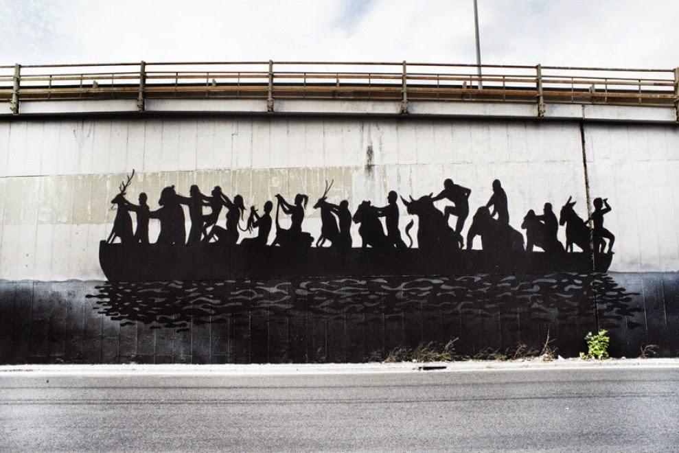 """Sam3 creates """"La Barca"""", a new mural in Rome, Italy"""