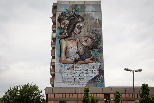"""""""If I Knew The World Ended Tomorrow, I'd Still Plant An Apple Tree"""" a massive mural by Herakut in Berlin"""