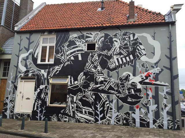M-City creates a new mural in Breda, Netherlands