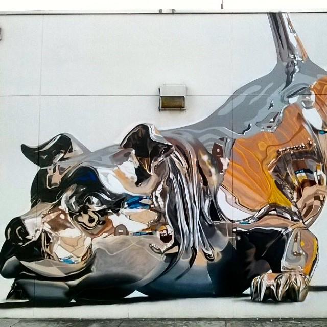 Art Basel '14: Bikismo creates a mind-boggling metallic mural in Wynwood, Miami