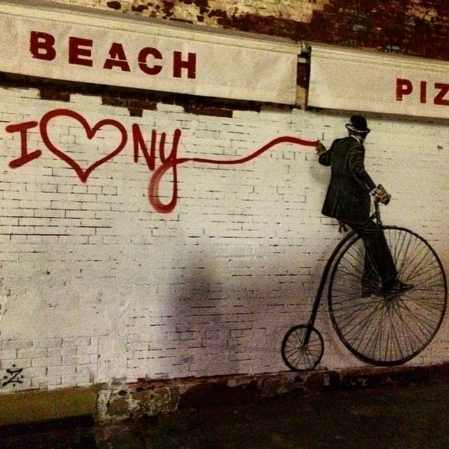 """Nick Walker """"Penny Farthing Vandal"""", a new stencil on the streets of New York City"""