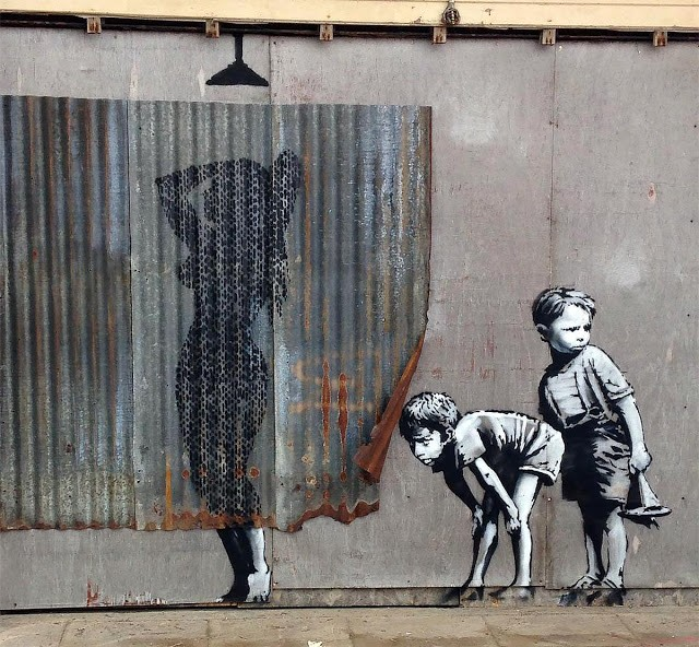 Banksy creates a new piece in Weston-Super-Mare, UK for Dismaland