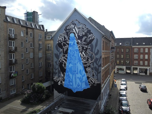 M-City paints a new mural in Aalborg, Denmark