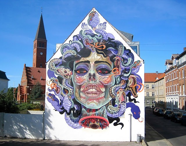 """Translucent Medusa"", a new mural by Nychos in Aalborg, Denmark"
